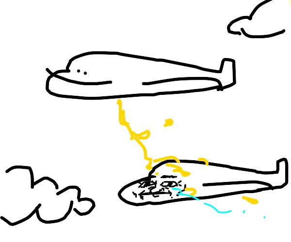 Plane URINATES on fellow plane
