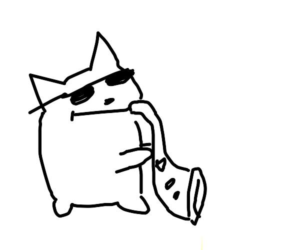 Cool cat plays sax