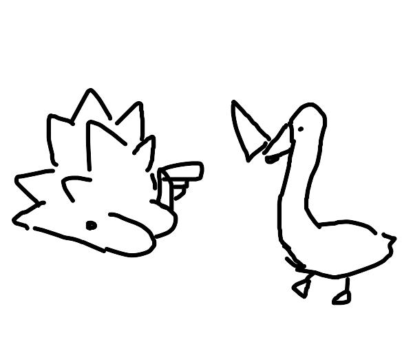 Snom fights a goose