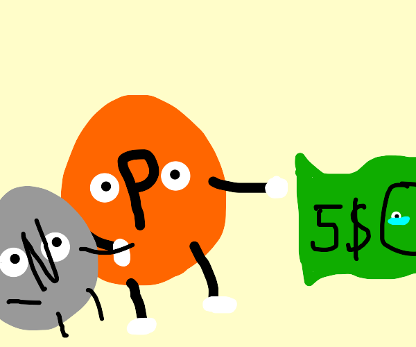 Nickel and penny cheers up 5$ bill