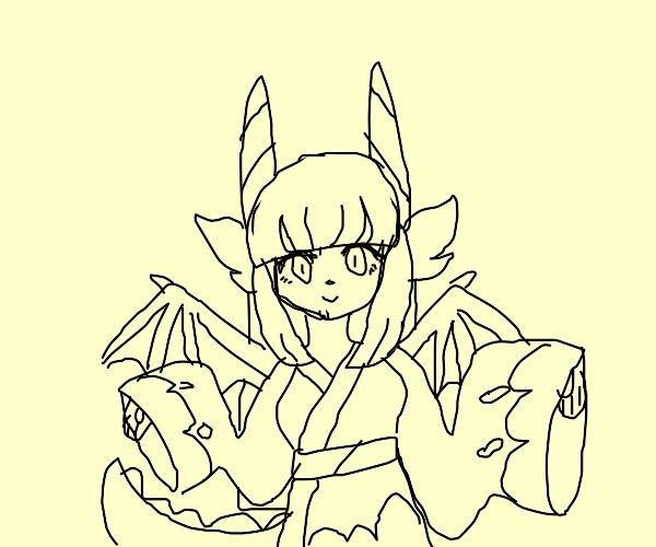 Cute dragon girl in a kimono