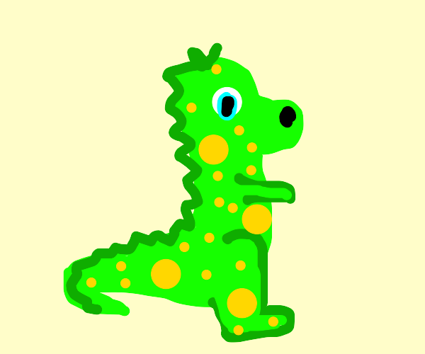 a cute green dinosaur with yellow spots