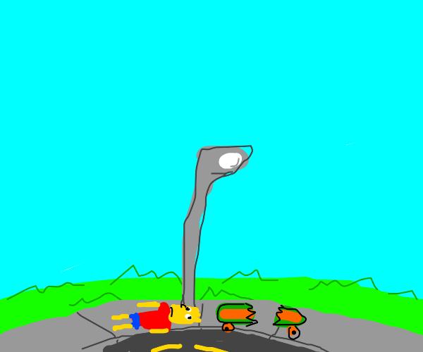 Drunk Bart Simpson w/ his broken skateboard