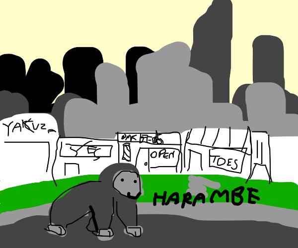 Gorilla man strollin
