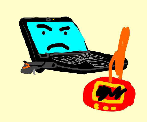 Laptop kills a tamagachi