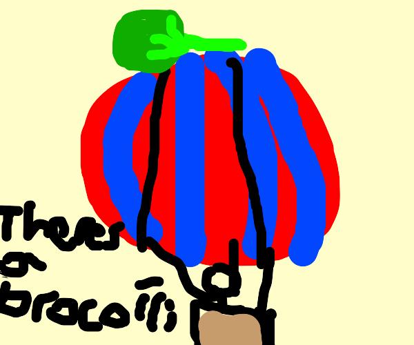 Balloon w/ broccoli on it