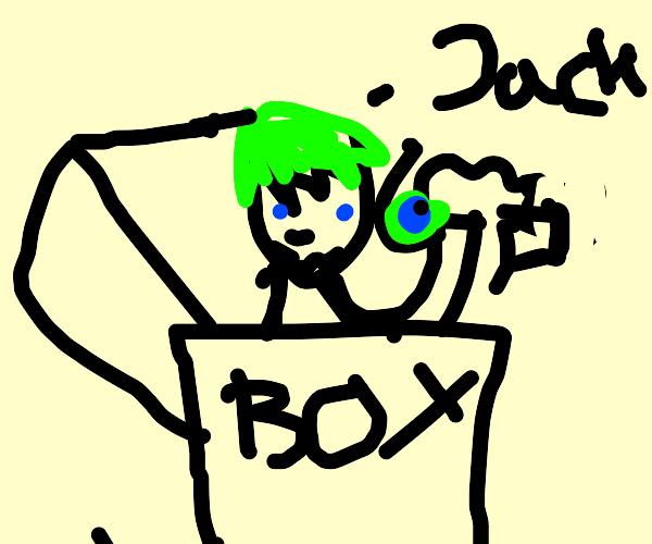 leprechaun hiding in a box with a microphone