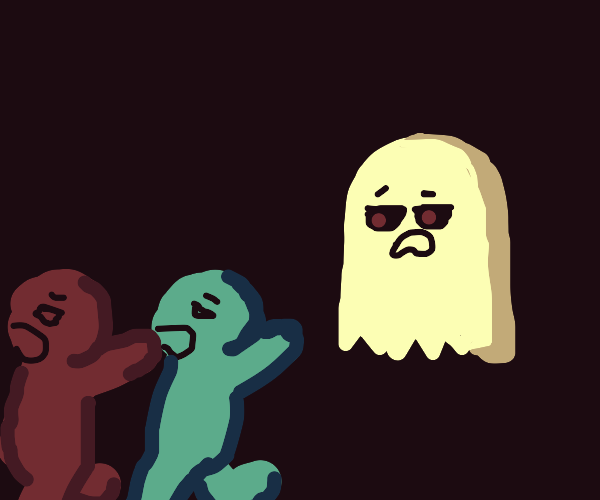 ghost man chasing red and blue men