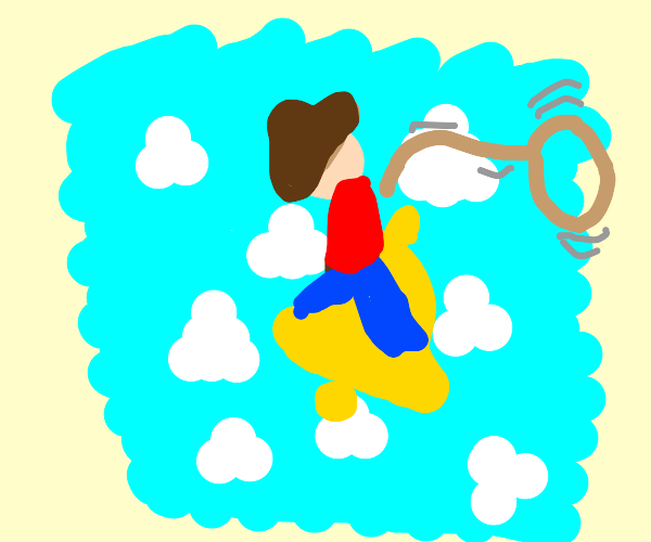 Cowboy riding a flying bell
