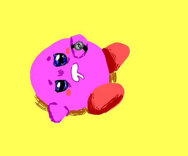 Sleepy Kirby checks time