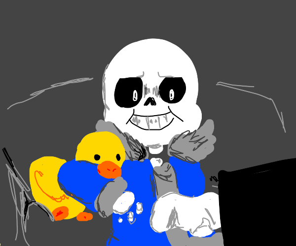Sans plays video game with duck