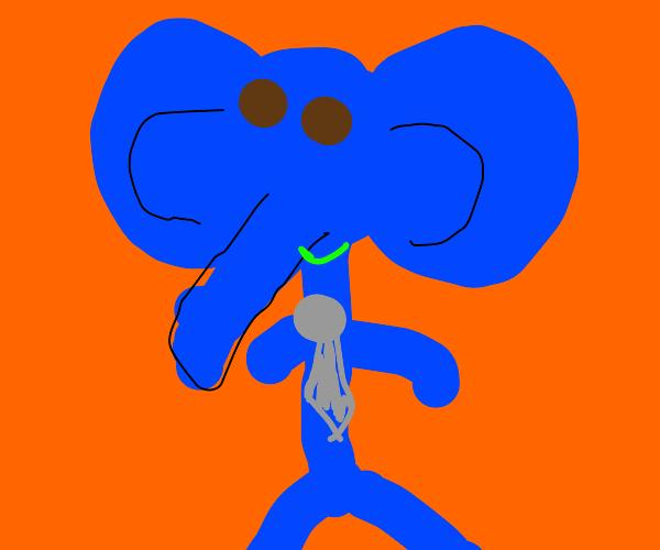 Smile blue elephant human