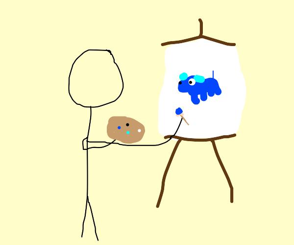 person paints blue dog