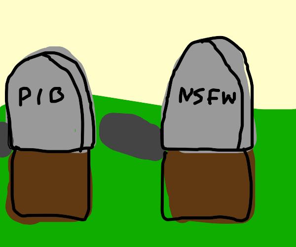PIO and NSFW gravestones in graveyard