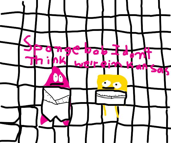 Patrick an sponge prepare to enter the asylum