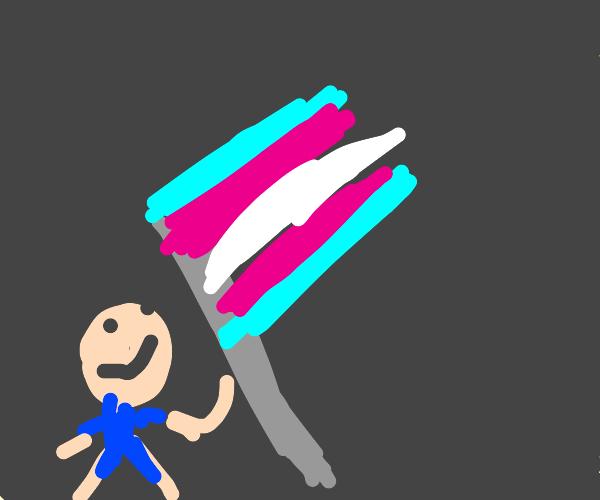 Hardcore Trans Rights Flag Lifting
