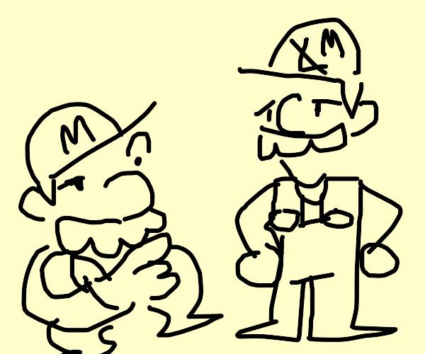 Mario realizes Luigi isn't Mario