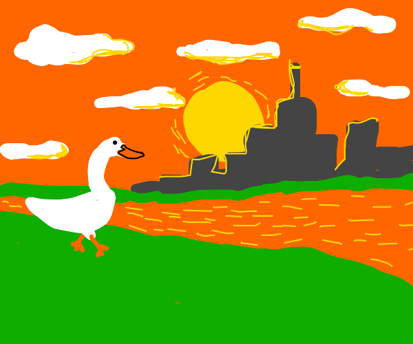 A giant duck looking at a city