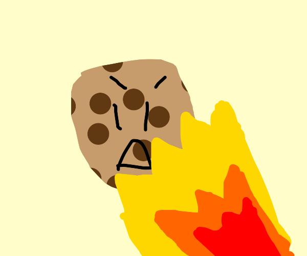Talking cookie is tortured via flame