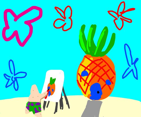 Chibi Patrick Star paints Spongebob's house
