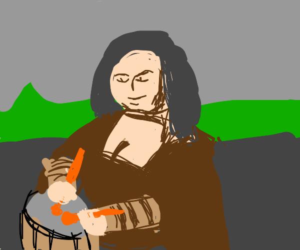 Mona Lisa playing Drum