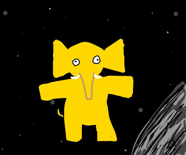 Yellow space elephant t posing