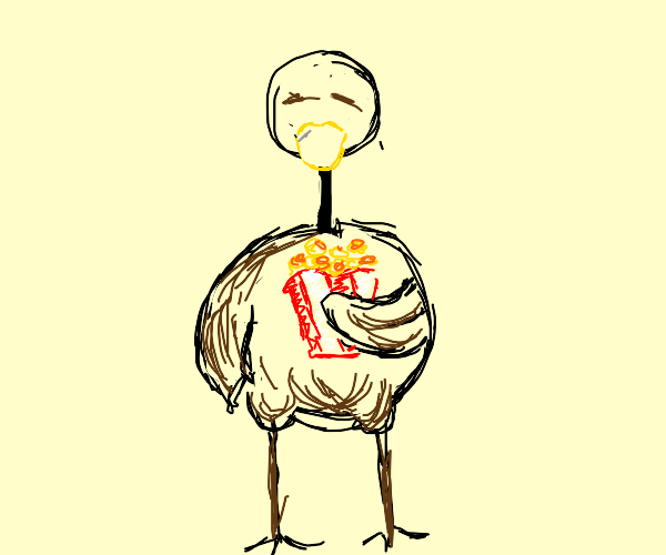 Ostrich carrying Popcorn