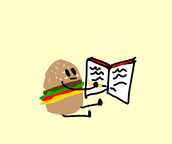 Hamburger writing to Book