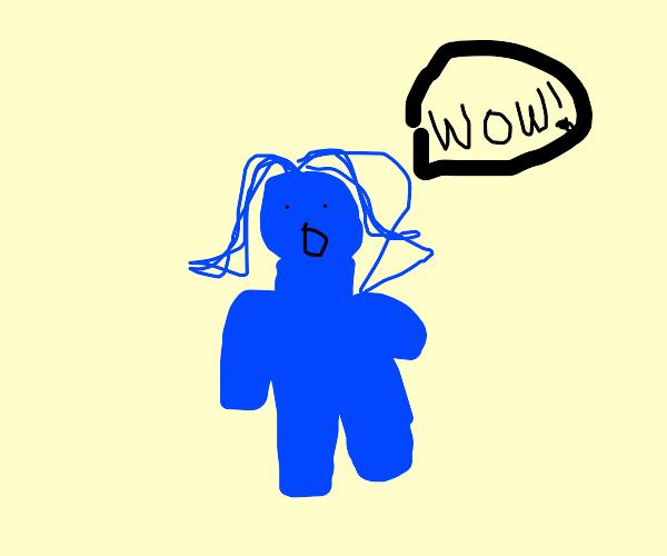 blue woman screaming wow
