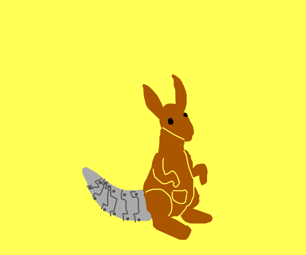 Kangaroo with a steel tail