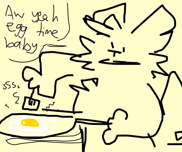 a guy frying eggs