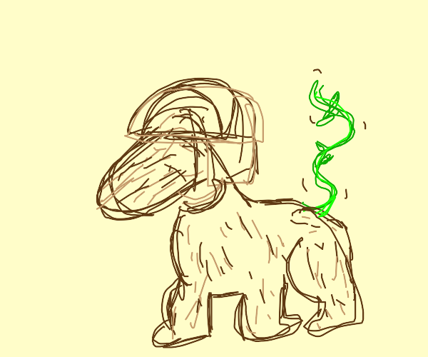 Wood creature with a vine tail and a helmet