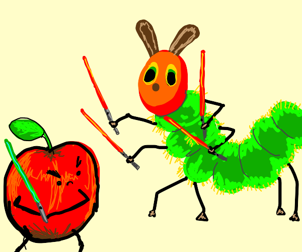 lightsaber battle with the hungry caterpillar