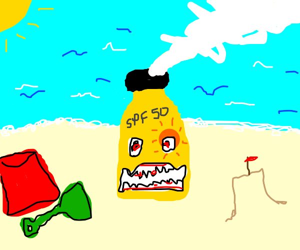 angry sunscreen at the beach