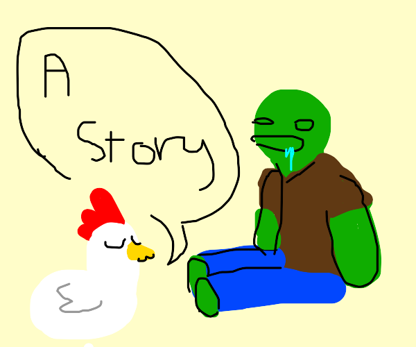 chicken telling story to zombie