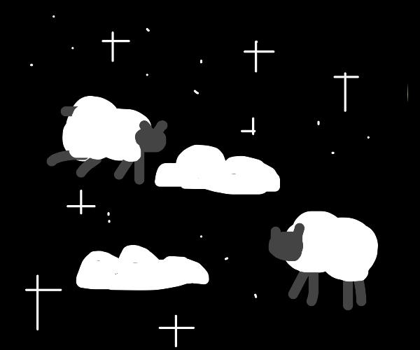 slleping sheep between clouds in the nightsky
