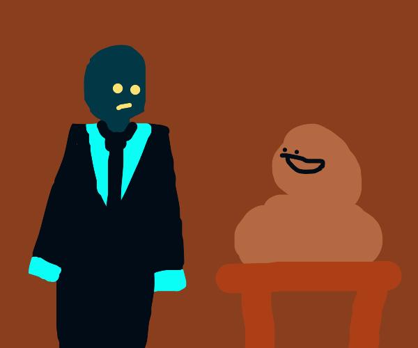 besuited blue guy looking at brown stuff