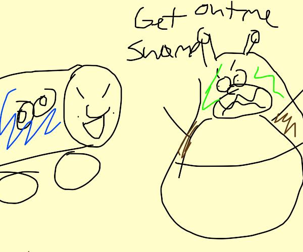 Thomas invades Shrek's swamp.