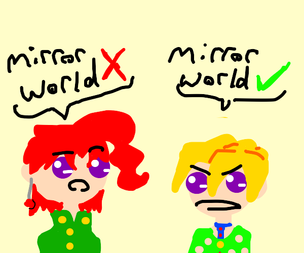 kakyoin and fugotalking about the mirrorworld