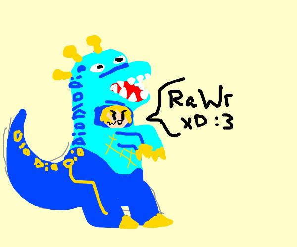 Person in dinosaur costume saying RaWr xD :3