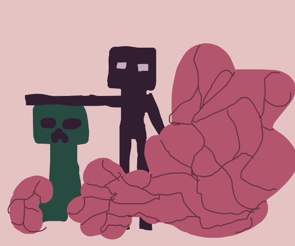 Creeper and enderman absorbed by fleshy mass