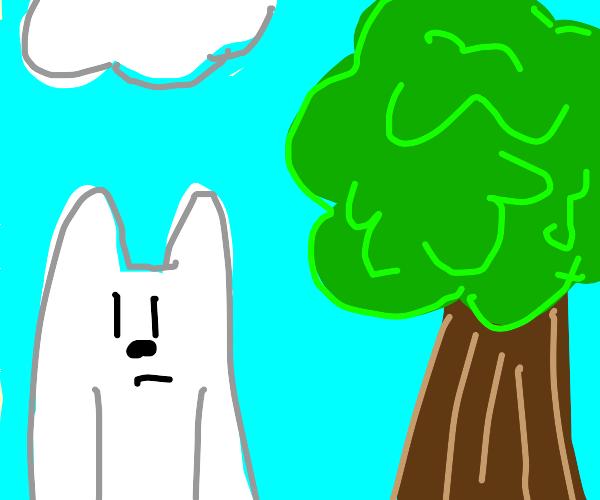 Ice Bear by a tree