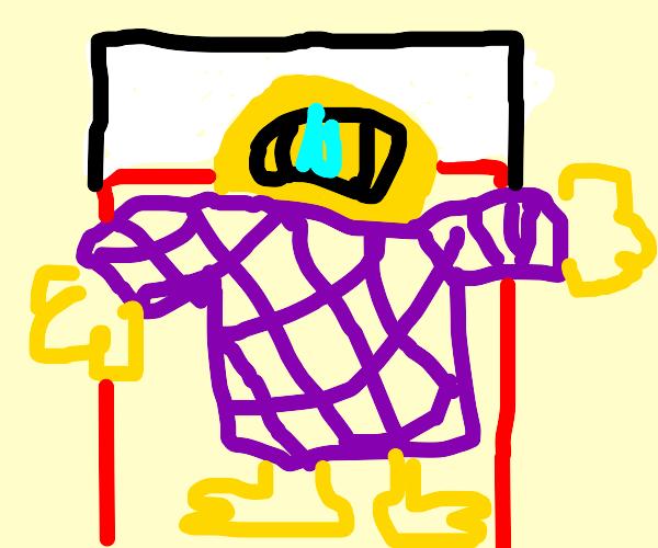 Yellow headed cyclops in bed,w purple shirt