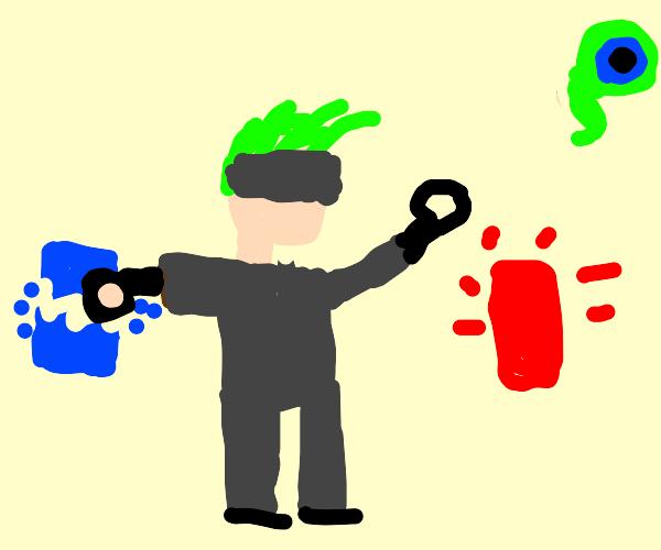 Green hair guy karate chop the light