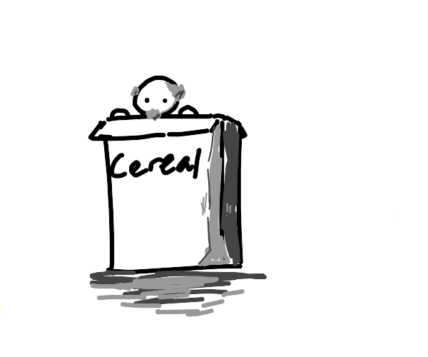 Old man in cereal box