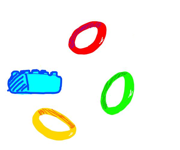 A Lego block & multicolored rings