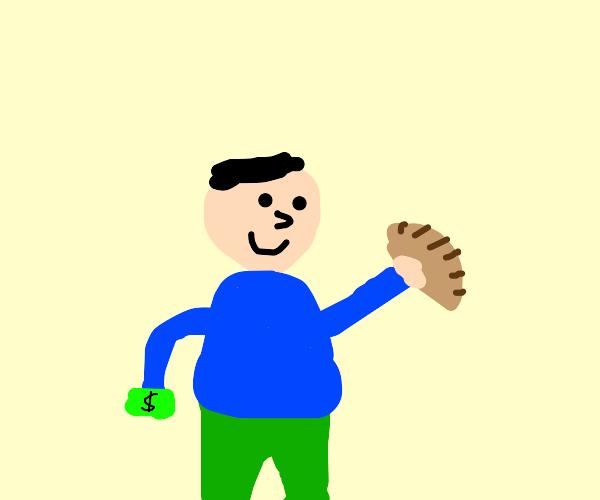 A boy getting bread