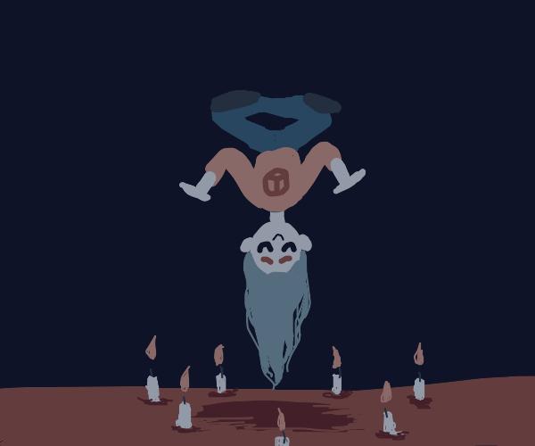 Person levitating upside down