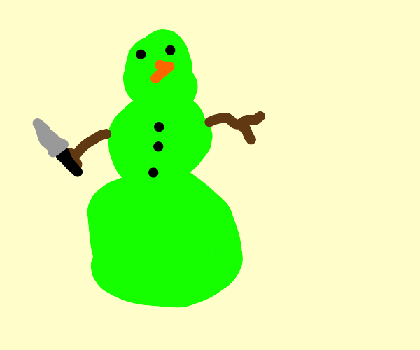 a green snowman with a knife