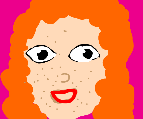 Freckled girl smiling curly hair